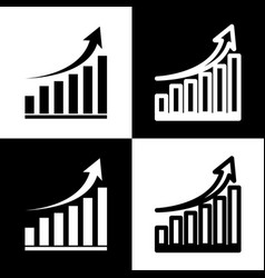 Growing graph sign black and white icons vector