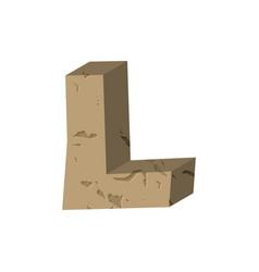 letter l stone font rock alphabet symbol stones vector image