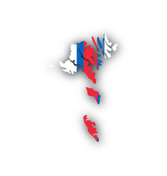 map and flag of the faroe islands vector image vector image