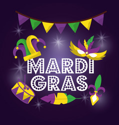 Mardi gras carnival mask hat drum with glitter vector