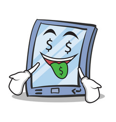 money mouth tablet character cartoon style vector image
