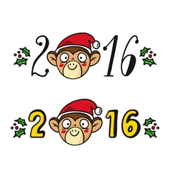 monkey in Santas hat chinese new year 2016 symbol vector image vector image