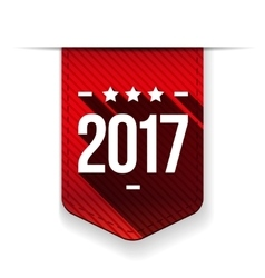 New Year 2017 red ribbon vector image