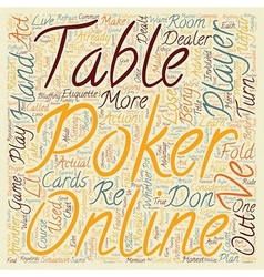 Poker online etiquette text background wordcloud vector