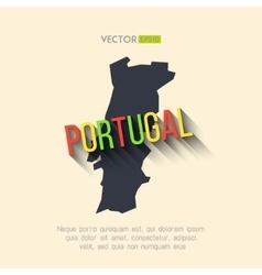 portugal map in flat design Portuguese vector image