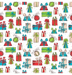 Seamless pattern of sketch gifts vector