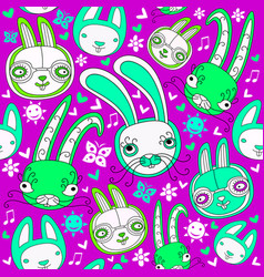 Seamless pattern with doodle rabbits vector