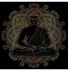 Seated meditating Gold Buddha vector image vector image