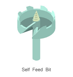 Self feed bit icon isometric 3d style vector