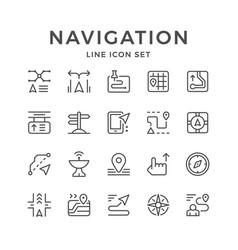 set line icons of navigation vector image