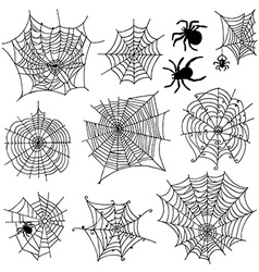 Set of 10 different spiderwebs and spiders on vector