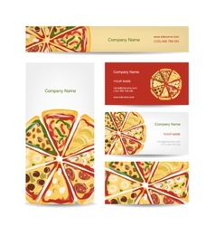 Set of business cards design with pizza slices vector image vector image