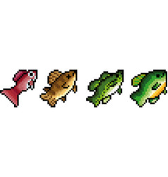 Set of pixel fish vector