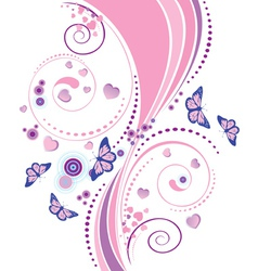 Soft pink floral ornament vector