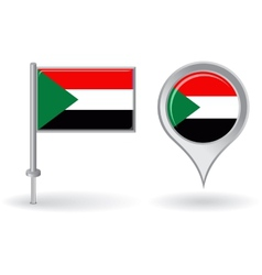 Sudanese pin icon and map pointer flag vector