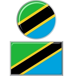 Tanzanian round and square icon flag vector
