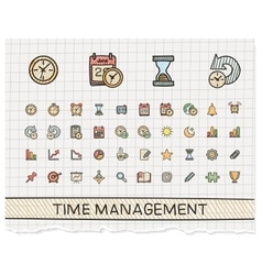 Time management hand drawing line icons vector
