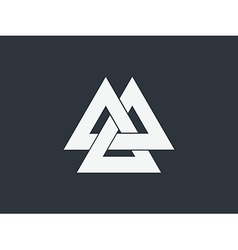 Valknut is a symbol of the worlds end of the tree vector