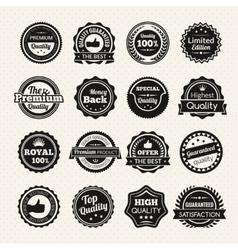 Vintage premium quality black and white badges vector