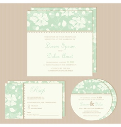 Wedding invitation set green vector