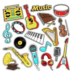 Musical instruments stickers patches badges vector