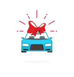 Car special offer idea automobile with red gift vector