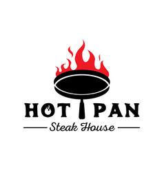 Hot pan on fire logo vector