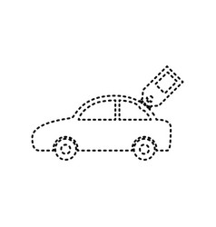 Car sign with tag black dashed icon on vector