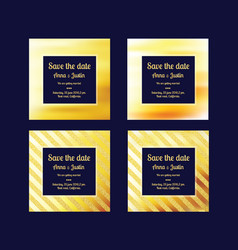 Set of abstract golden backgrounds luxury vector