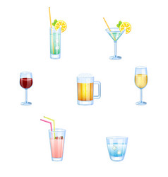 Alcoholic drinks and non alcoholic drinks with vector