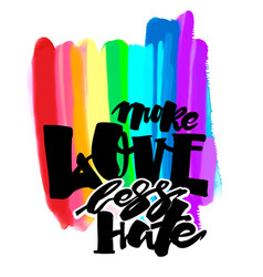 More love less hategay pride lettering vector