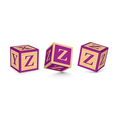 Letter z wooden alphabet blocks vector