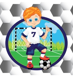 Boy soccer player on the background vector image