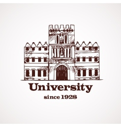 University sketch building vector image