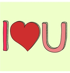 Doodle i love you text vector