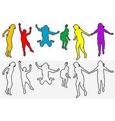 Set of children outline silhouettes jumping vector