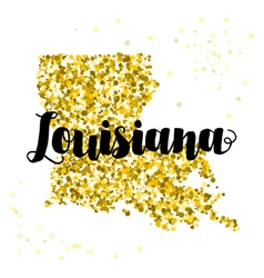 Golden glitter of the state of Louisiana vector image