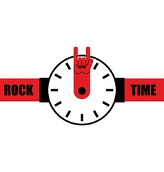 Rock time watch as arrow rock hand sign wrist vector