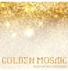Shining abstract light mosaic golden background vector