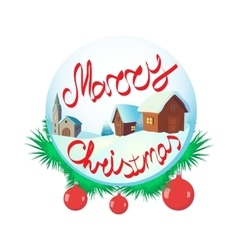 Merry christmas glass snow ball icon vector
