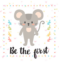 be the first inspirational quote hand drawn vector image