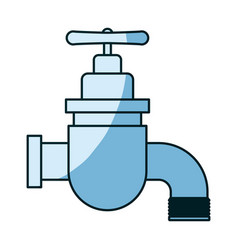 Blue shading silhouette of faucet icon vector