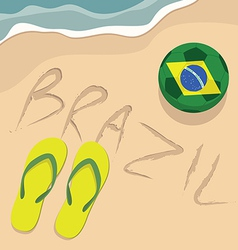 Brazil beach with football and slippers vector image