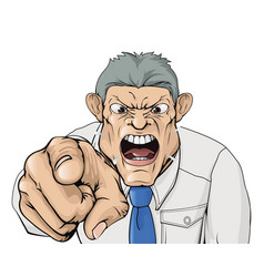 bullying boss shouting and pointing vector image