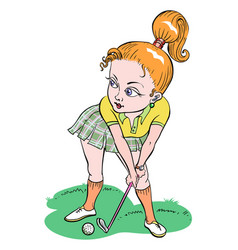 Cartoon image of woman playing golf vector