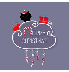 Cat in santa hat giftbox snowflake ball merry vector