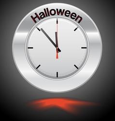 Clock red arrow specifies in a word halloween vector