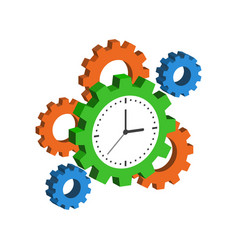Clock with cogwheels time management symbol flat vector