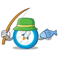 Fishing stellar coin character cartoon vector