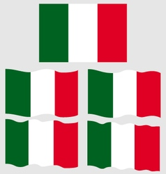 Flat and waving flag of italy vector